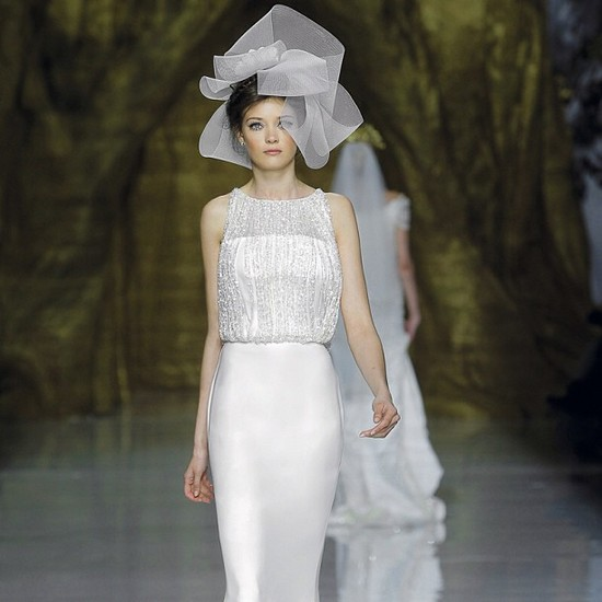photo of haute couture bridal headpiece with beaded Pronovias gown