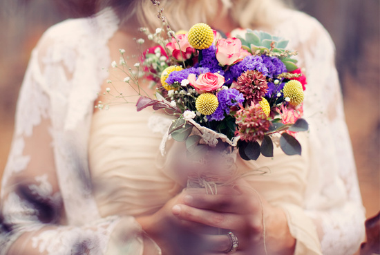 outdoor real wedding bohemian bride colorful bouquet