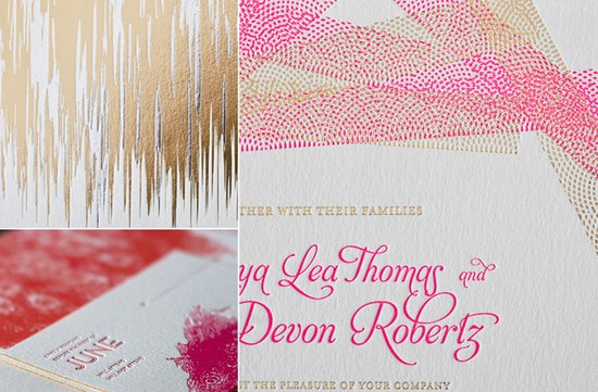 2012 wedding trends modern letterpress invitations gold pink