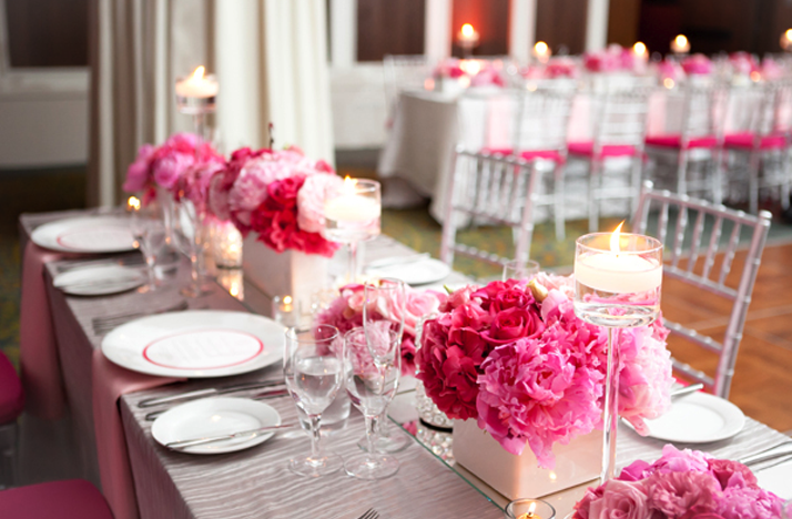 Wedding trends pink flower centerpieces