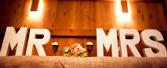 rustic barn wedding IL photographers mr and mrs wood signs