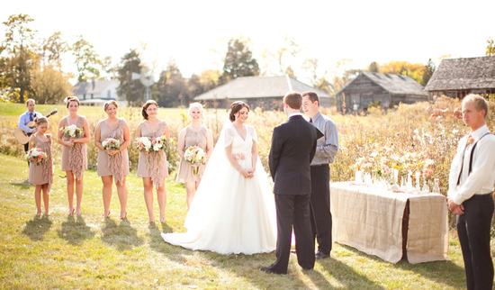 rustic barn wedding IL photographers bridal party portrait