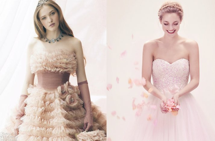 2012 wedding trends pink bridal gowns wedding dresses