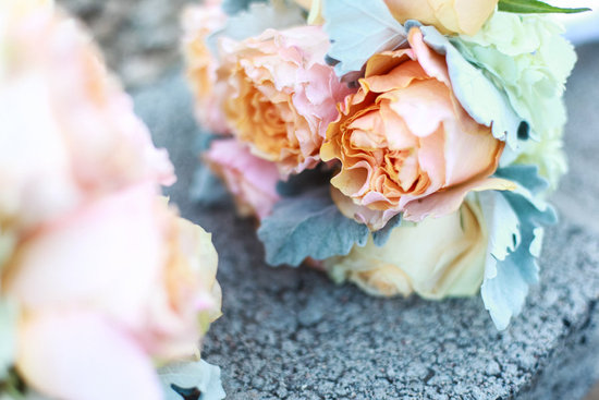 Peach garden roses ivory hydrangea lambs ear wedding bouquet
