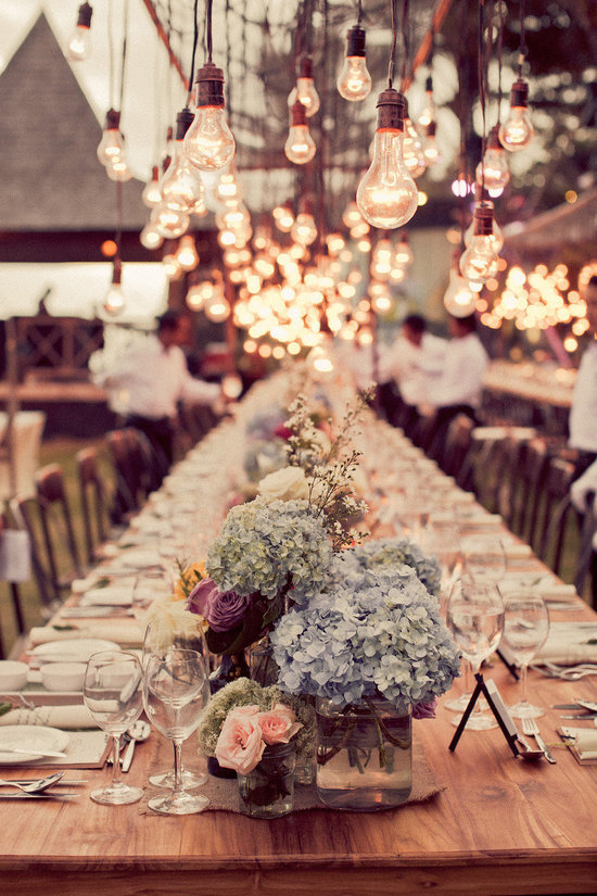 Unique wedding chandelier hydrangea centerpieces