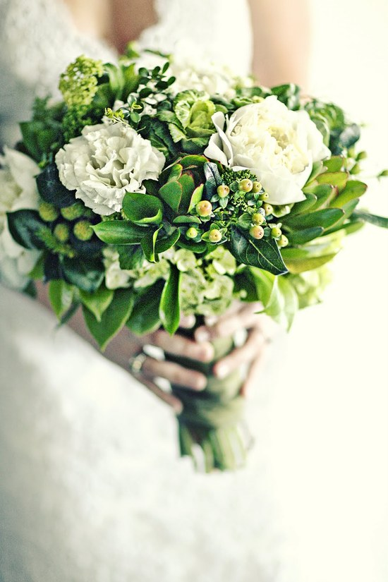 Beautiful green and ivory wedding bouquet with viburnum