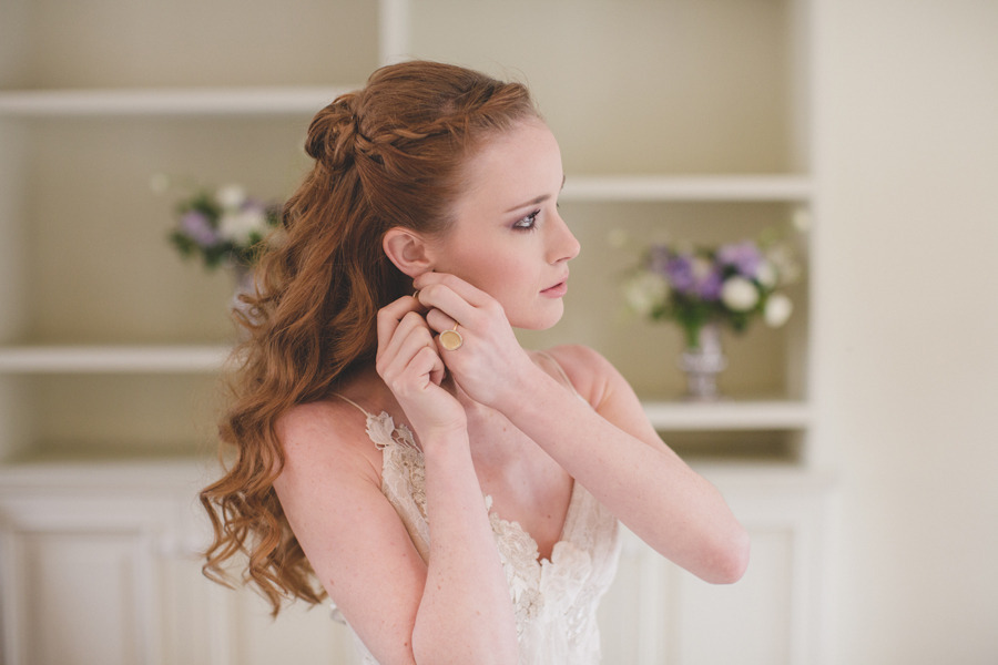 Romantic Hairstyles For Wedding: Romantic Waves Wedding Hairstyle With Braid In Front