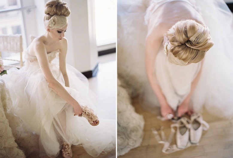 top knot bridal updo for long hair brides