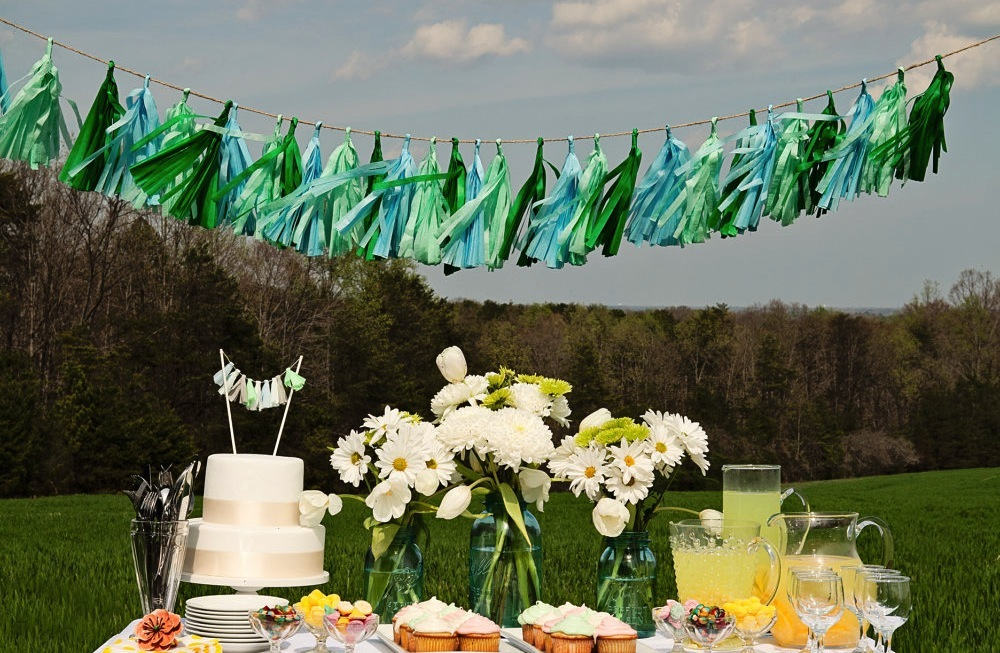Mint aqua and emerald wedding tassels backdrop