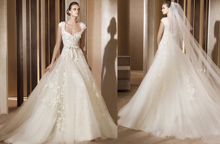 Aglaya Wedding Dress Lace Cap Sleeves 2012 Bridal Gowns