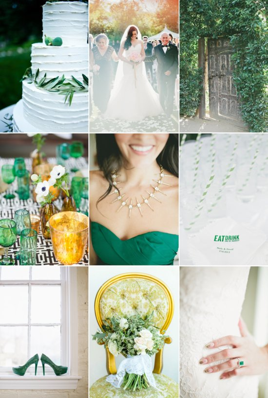 Summer wedding colors emerald citrus classic black and white
