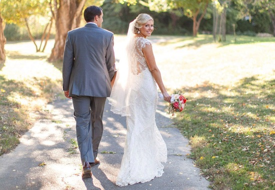 Lace statement back wedding dress summer vintage bride