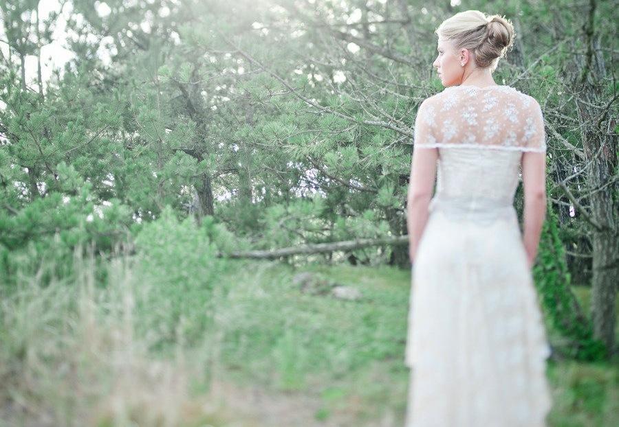 Sheer Lace Bridal Bolero Over Claire Pettibone Wedding