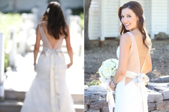 plunging v back wedding dress with sheer straps