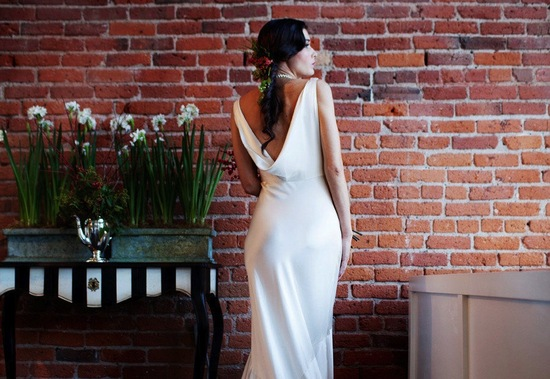 K Besset inspired cowl back wedding dress