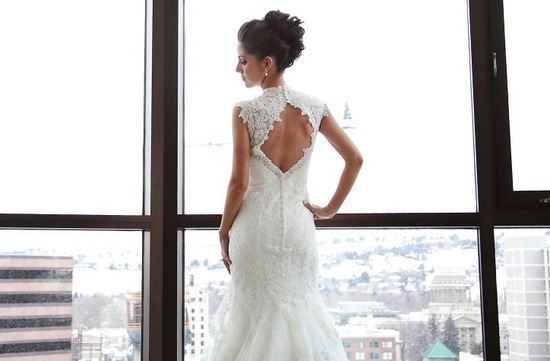 allover lace mermaid wedding dress with keyhole back