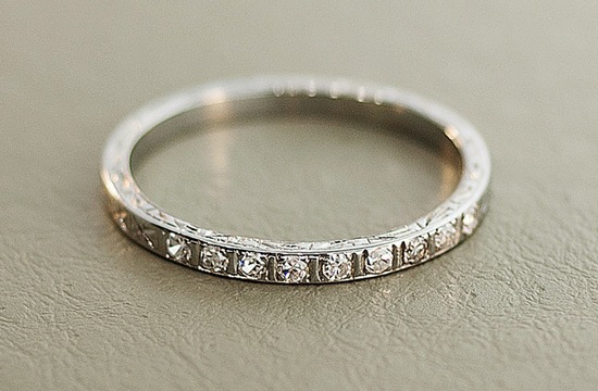Antique etched engagement ring with diamonds