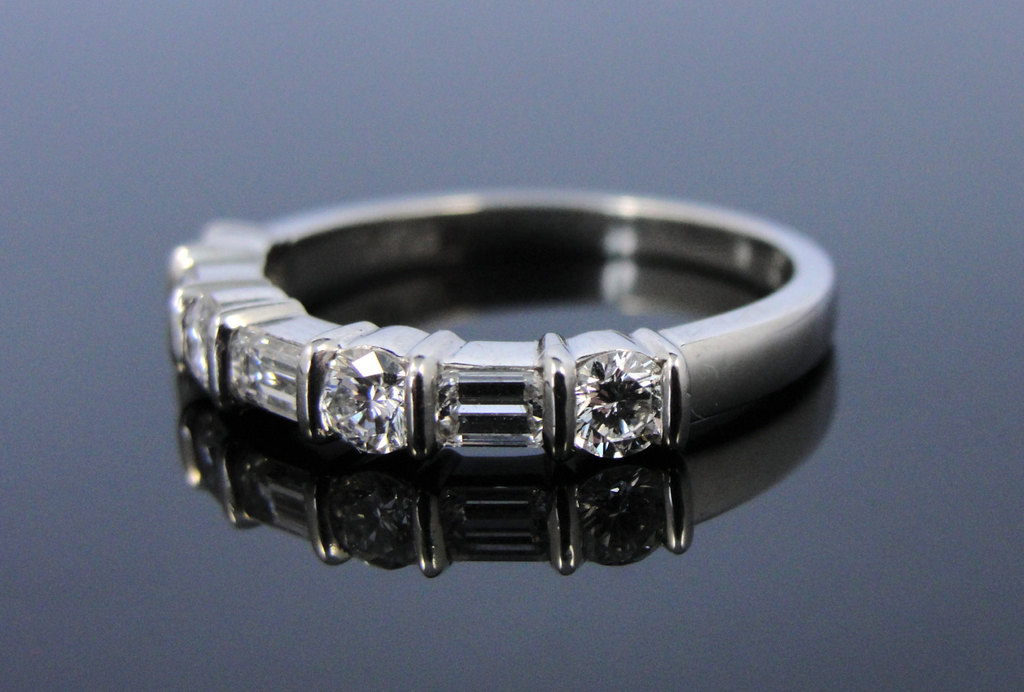 Vintage white gold and diamond wedding band round and baguette stones