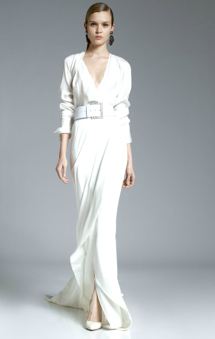 2012 wedding dress inspiration pre fall collections DKYN sleeved wedding dress slit
