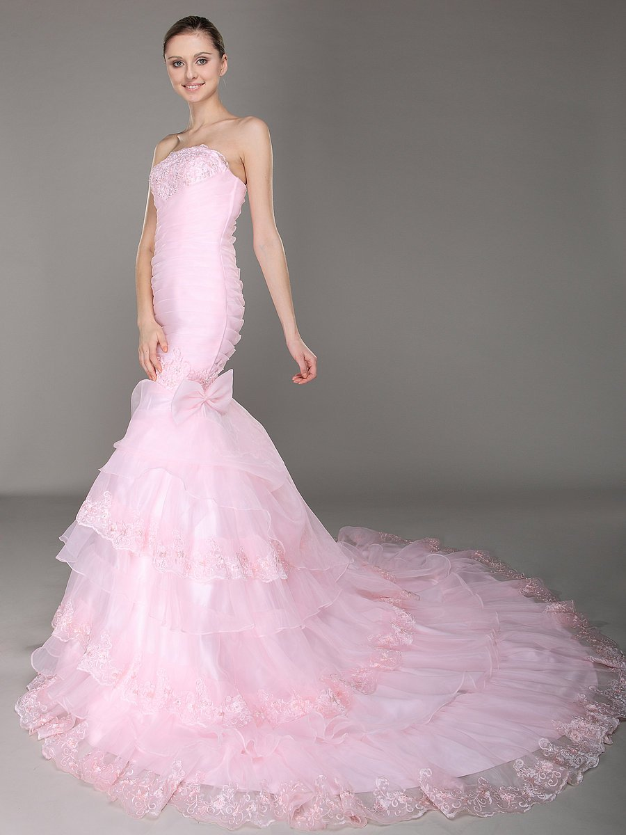 A line Strapless Layered pink Lace Mermaid Wedding Dress 453