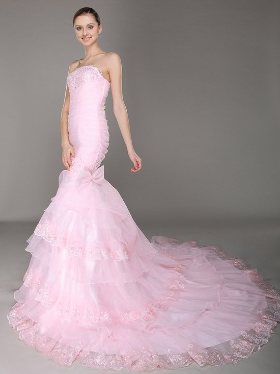 photo of A line Strapless Layered pink Lace Mermaid Wedding Dress 453