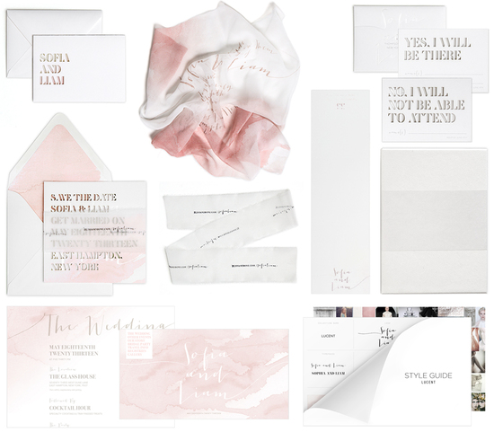 Bliss and Bone Wedding Collection customized invitations Lucent Blush