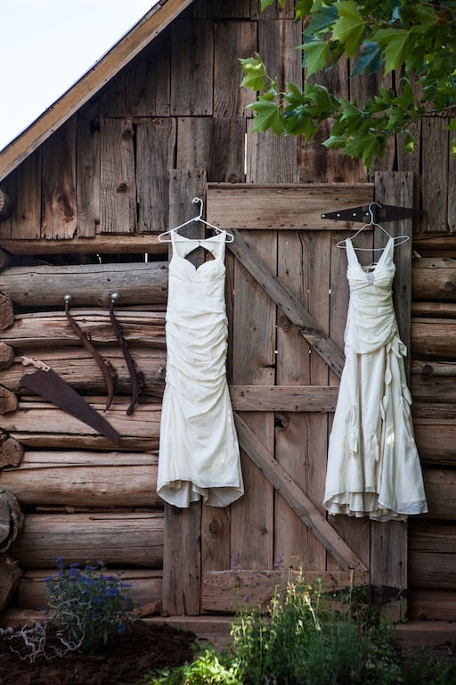 Dresses hanging Nikole and Amy eco gowns by Janay A Handmade