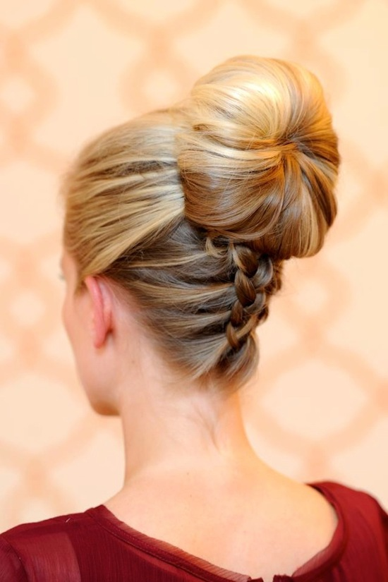 wedding hair DIY braided up the back sock bun