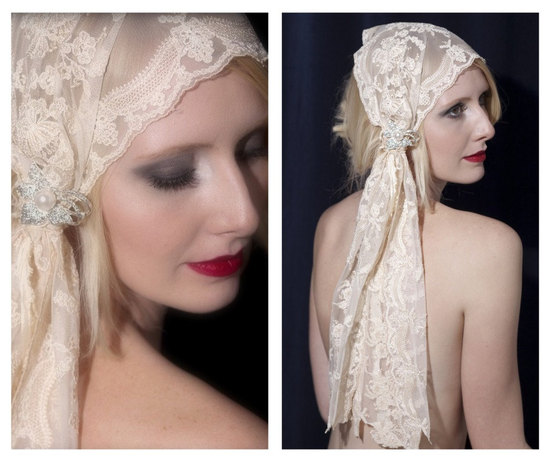 lace bridal head wrap vintage inspired