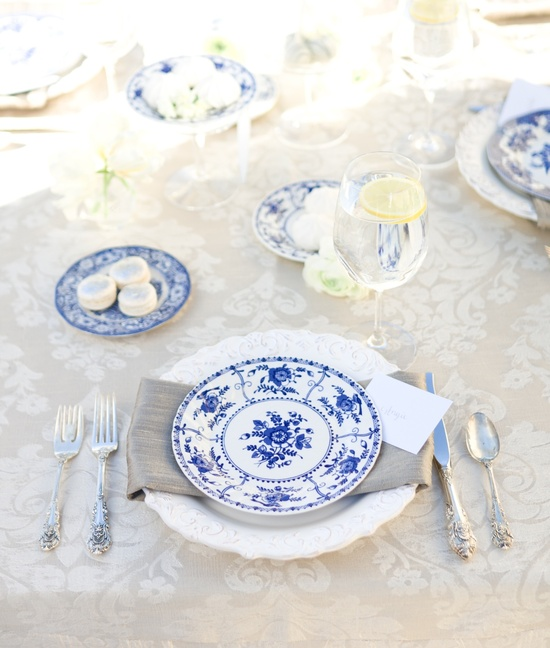 blue white vintage wedding ideas reception tables china