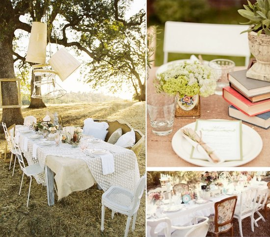 outdoor weddings vintage theme reception tabletops centerpieces
