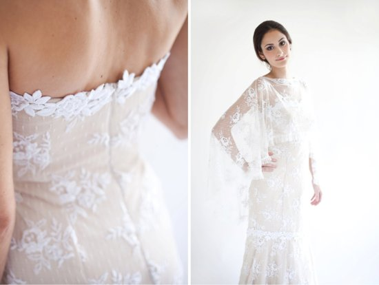Beige with white lace handmade wedding dress
