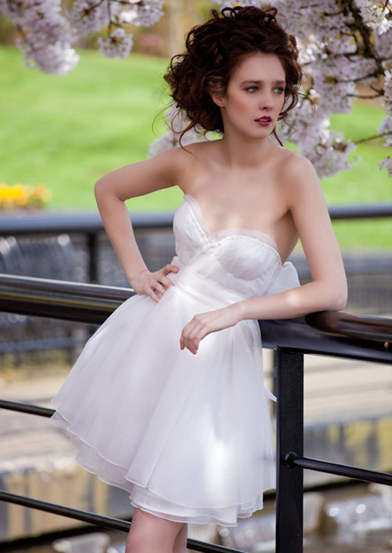 photo of Cherry Bomb silk wedding reception dress by Claire LaFaye