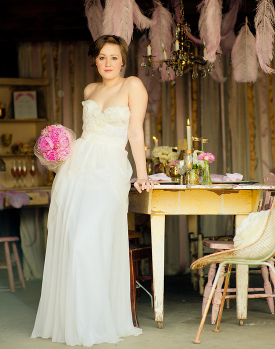 photo of Silk wedding dress by Claire LaFaye