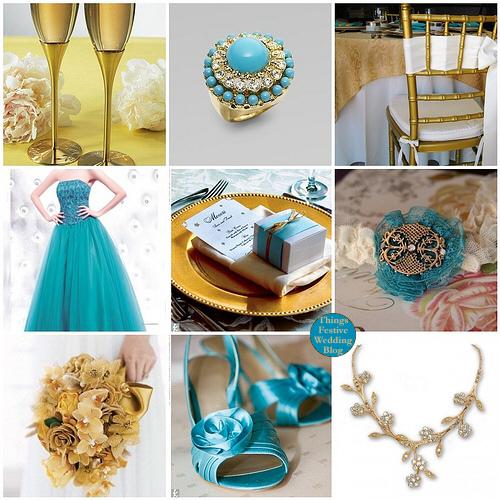 Turquoise gold wedding