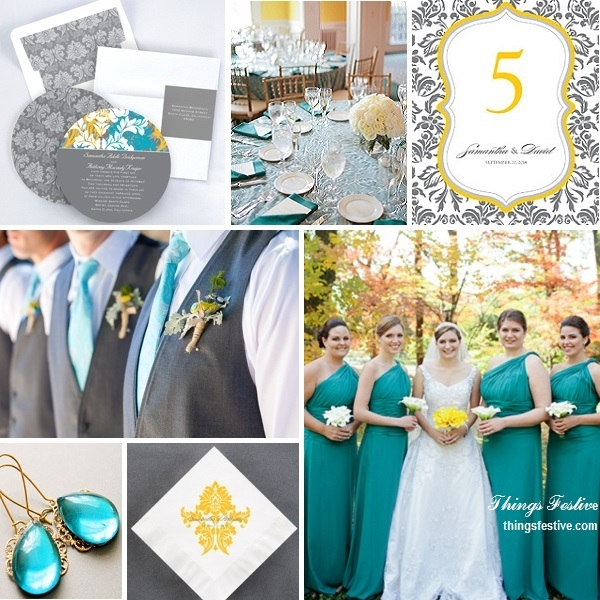 teal yellow gray wedding