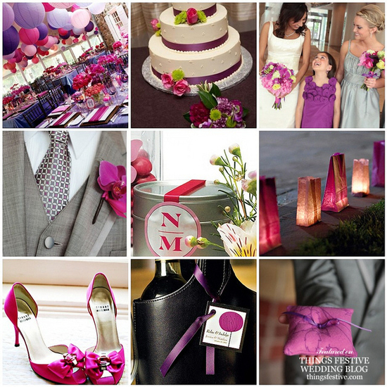 purple and fuchsia wedding