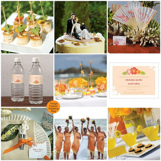 orange and yellow beach wedding