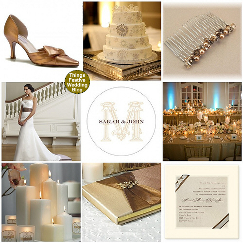 bronze mocha ivory winter wedding theme