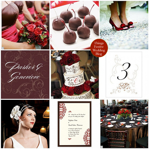 brown and red fall wedding