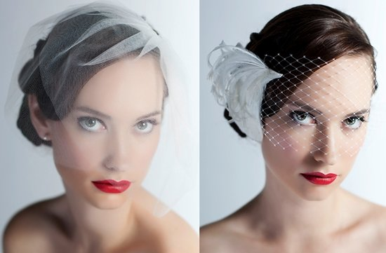 mini bridal veils vintage inspired wedding hair makeup