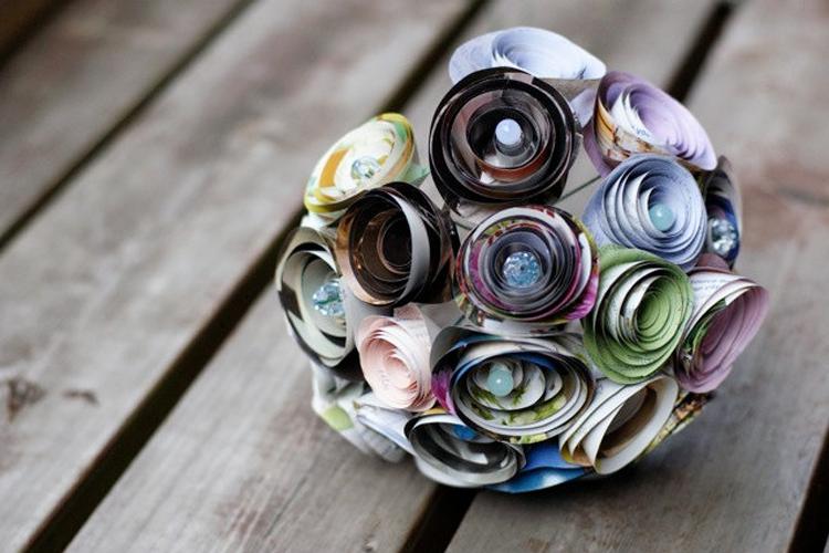 Wedding Bouquet Ideas Non Flower : Recycled wedding ideas unique bridal bouquet onewed