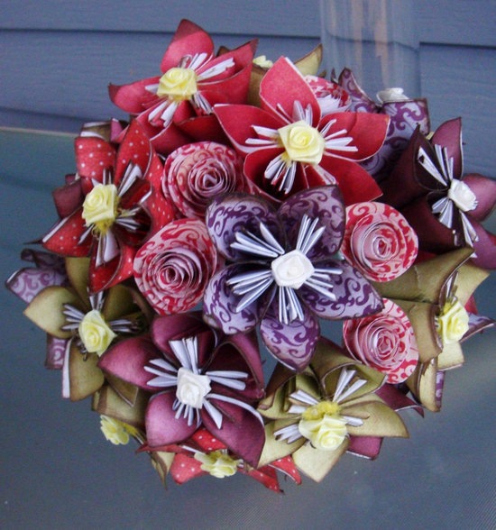 origami handheld bridal bouquet eco friendly wedding ideas