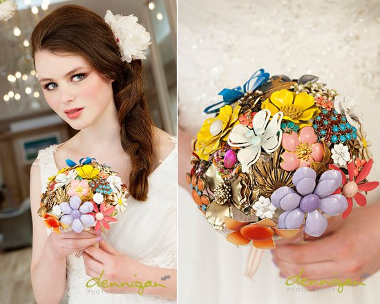 photo of Vintage brooch heirloom bridal bouquet