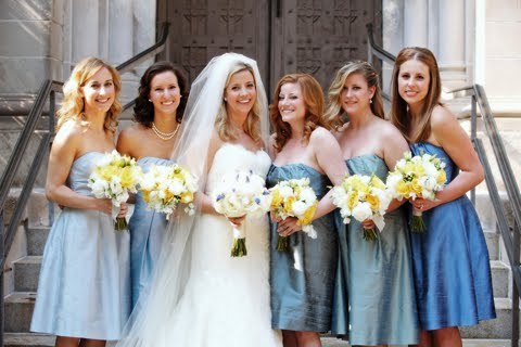 blue bridesmaids dresses strapless mix match