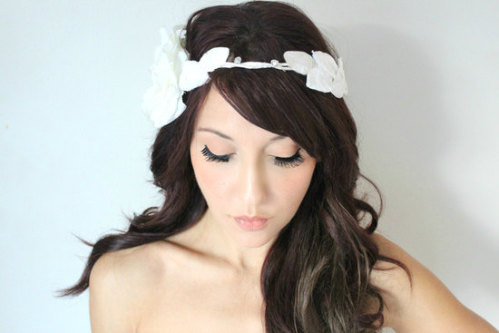 white grecian fairytale wedding headpiece