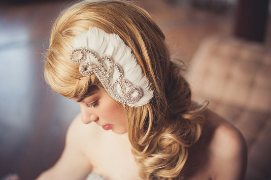 Winged feather wedding hair clip