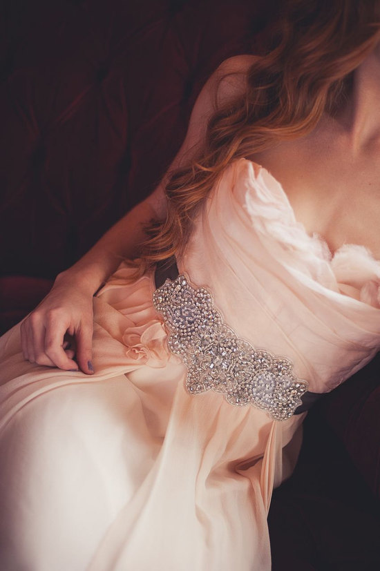 heavily beaded crystal bridal sash