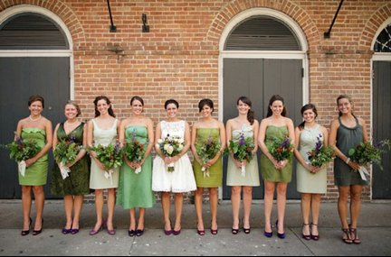 Bride-in-tea-length-wedding-dress-green-bridesmaids-dresses-mismatched.full