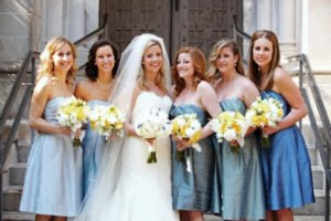 photo of bridesmaids wear same stye bridesmaids dresses different colors shades
